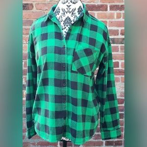 Gingham Plaid Flannel Button Down Shirt Cotton